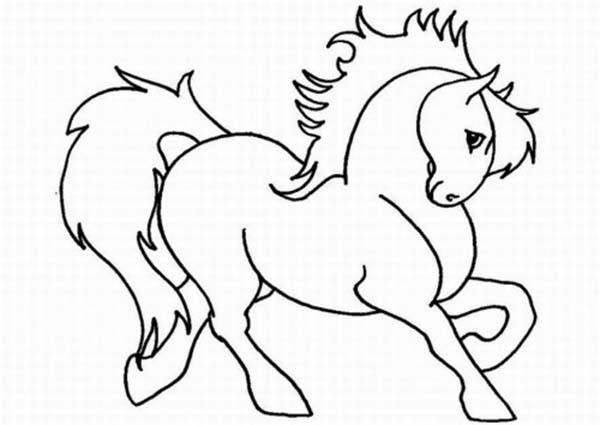 Cute Horse Cartoon in Horses Coloring
