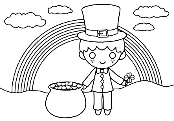 Cute Kid Under the Rainbow in St Patricks Day Coloring Page ...