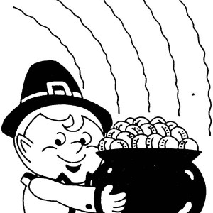 Cute Leprechaun Holding a Pot of Gold Coloring Page