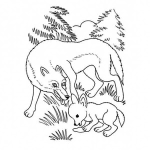 Cute Little Wolf and Her Mother Coloring Page