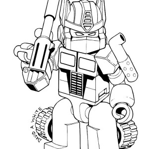 Cute Optimus Prime of Trasformers Coloring Page
