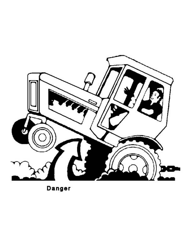 Dangerous Tractor Coloring Page Download Print Online Coloring Tractor Coloring Pages