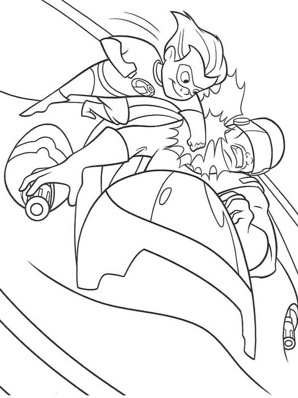 Dash Punching Enemy in The Incredibles Coloring Page - Download ...