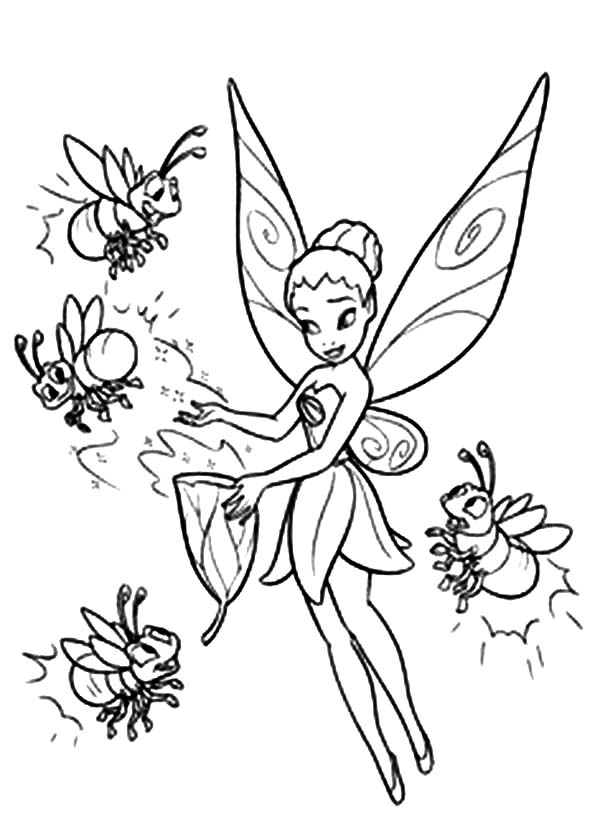 Disney Beautiful Fairies Iridessa Give Light to Coloring Page