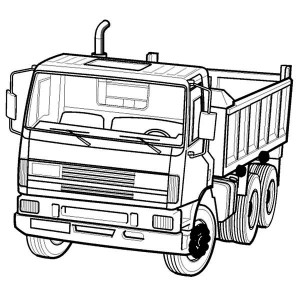 Dump Truck In Semi Coloring Page