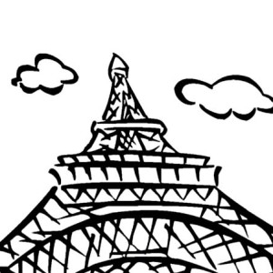 Eiffel Tower View from Downside Coloring Page