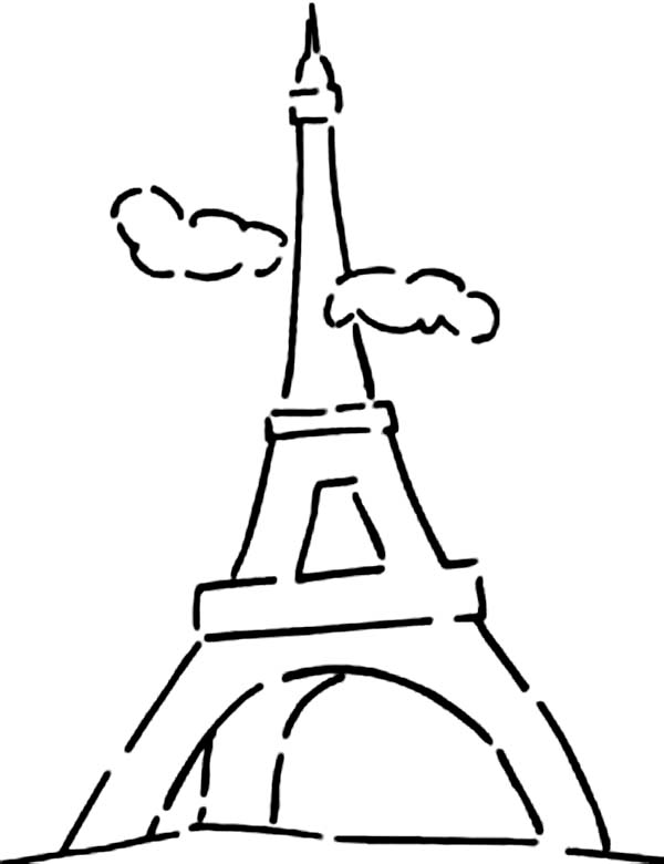 Eiffel Tower and Cloudy Sky Coloring Page Download Print Online