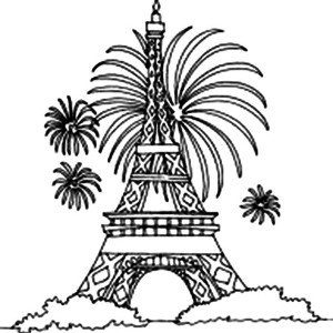 Fireworks and Eiffel Tower Coloring Page Fireworks and Eiffel