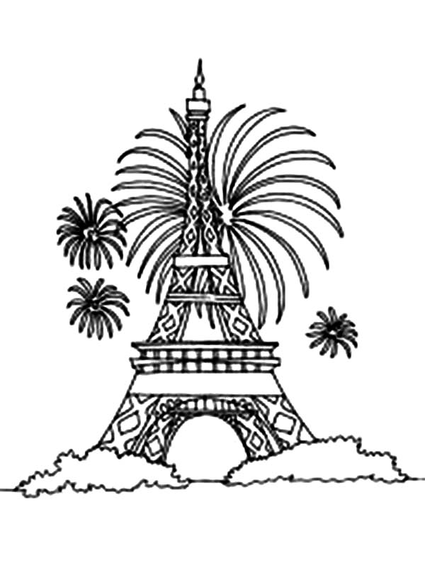 eiffel tower and firework coloring page - Paris Eiffel Tower Coloring Pages