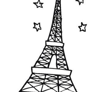 eiffel tower and stars in the sky coloring page - Paris Eiffel Tower Coloring Pages