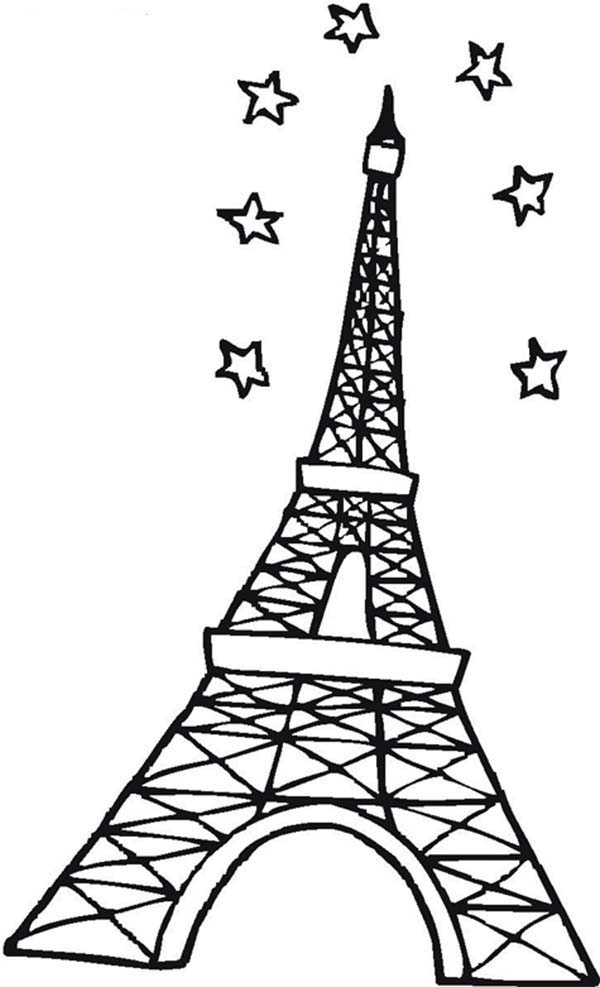 Eiffel Tower and Stars in the Sky Coloring Page Download Print