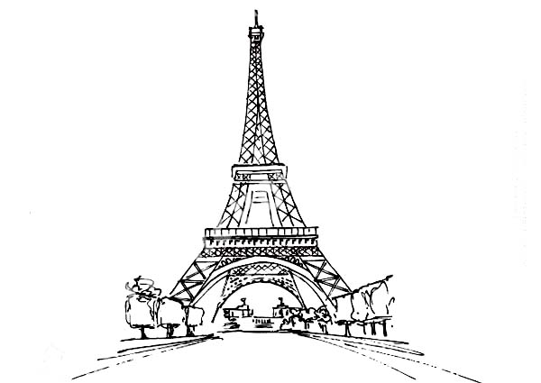 Eiffel Tower from Distance Coloring Page Eiffel Tower from
