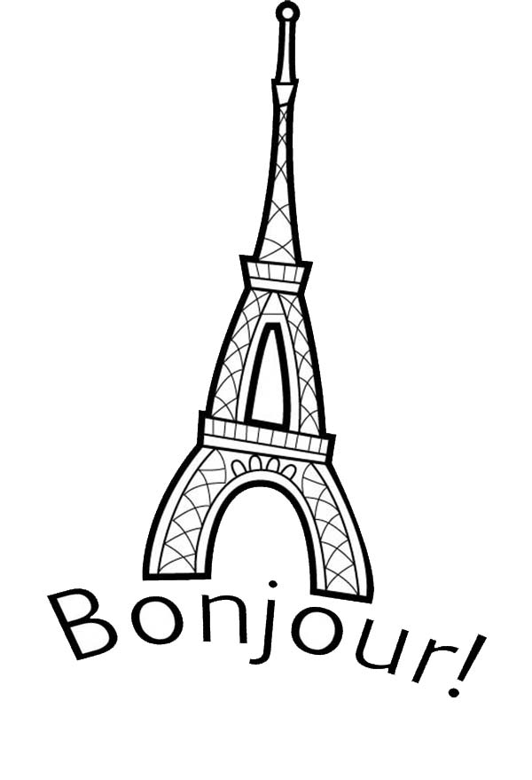 Eiffel Tower Is In France Coloring Page