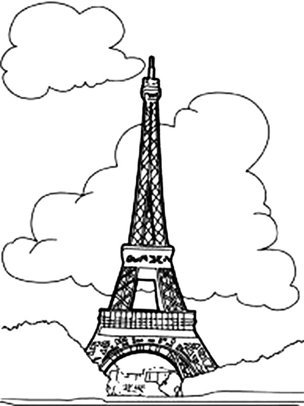 Eiffel Tower With Clouds Coloring Page PageFull