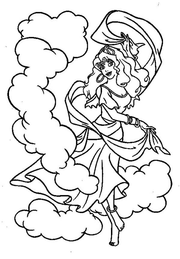 Hunchback Of Notre Dame Esmeralda Dance In The Coloring Page