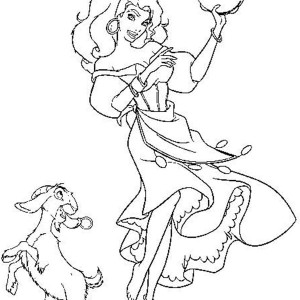 Esmeralda Dancing with Djali in The Hunchback of Notre Dame Coloring Page