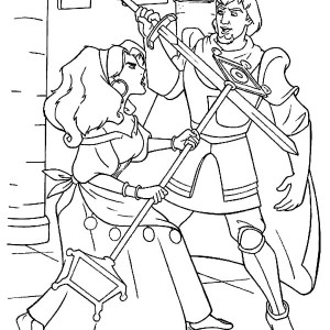 Esmeralda Sword Fight with Phoebus in The Hunchback of Notre Dame Coloring Page