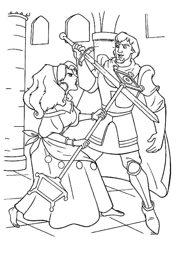 Hunchback Of Notre Dame Esmeralda Sword Fight With Phoebus In The