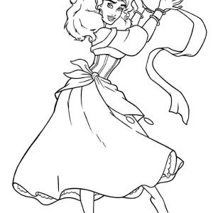 Esmeralda With Tambourine In The Hunchback Of Notre Dame Coloring Page