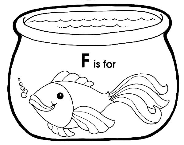 F is for Fish in Fish Bowl Coloring Page Download Print Online
