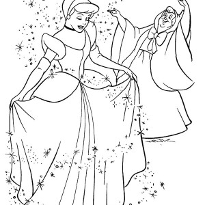 Fairy Godmother Give Cinderella Beautiful Dress in Cinderella Coloring Page