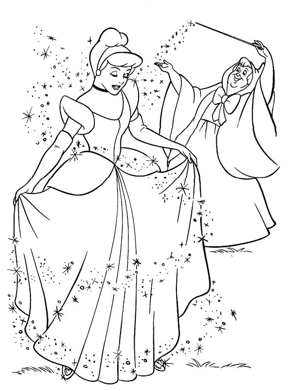 Fairy Godmother Give Cinderella Beautiful Dress In