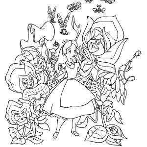 fantasy world of alice in wonderland coloring page