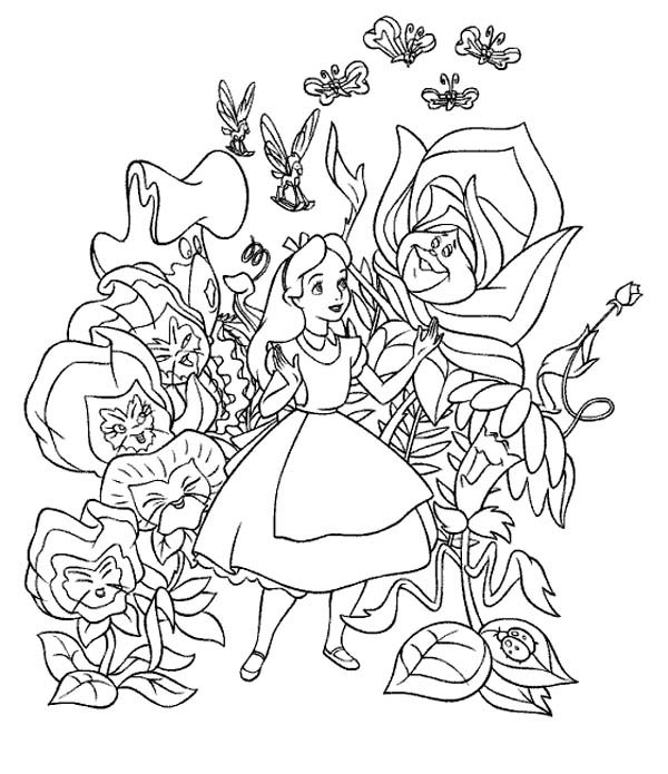 alice in wonderland fantasy world of alice in wonderland coloring page