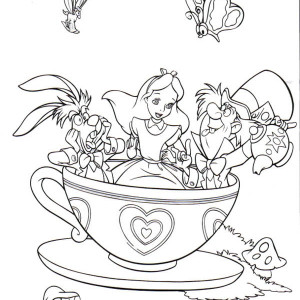 fantasyland mad tea party alice in wonderland coloring page