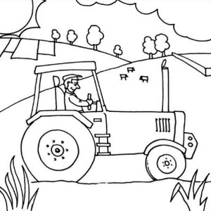 Farmer Ride Tractor Coloring Page