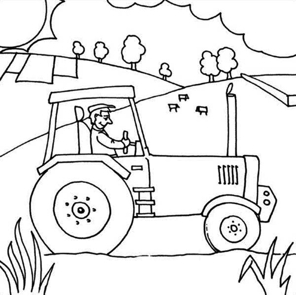 farmer ride tractor coloring page - Tractor Coloring Pages Printable
