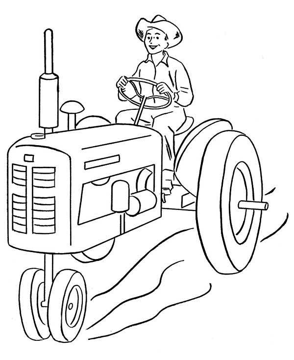 Farmer and Tractor Coloring Page - Download & Print Online Coloring ...