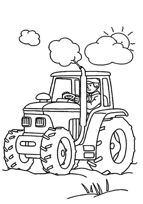 print farmer is working tractor coloring page in full size