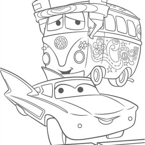 Fillmore and Flo from Disney Cars Coloring Page