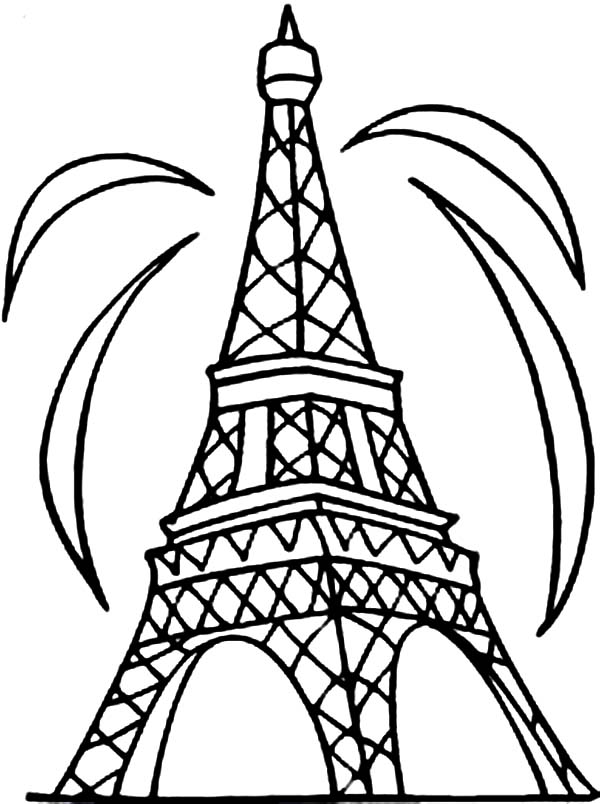 Eiffel Tower Fireworks And Coloring Page PageFull
