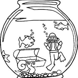 Fish and Diver in Fish Bowl Coloring Page