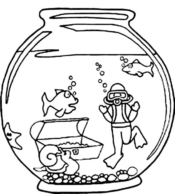 Fish and Diver in Fish Bowl Coloring Page Download Print