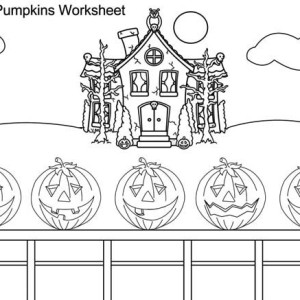 Five Halloween Pumpkins on Coloring Page