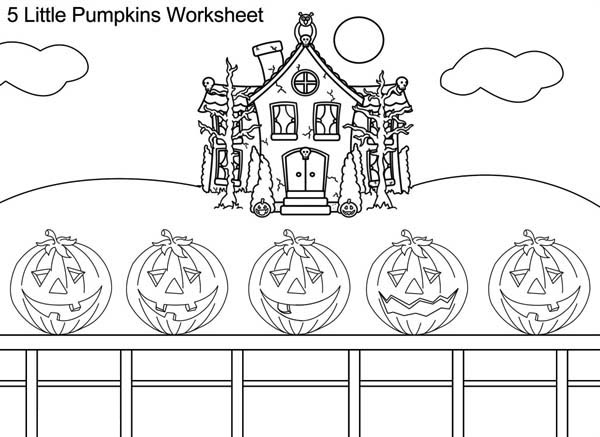 Five Halloween Pumpkins on Coloring Page - Download & Print Online ...