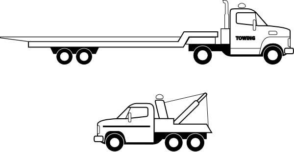 Flatbed Truck in Semi Truck Coloring Page Download Print