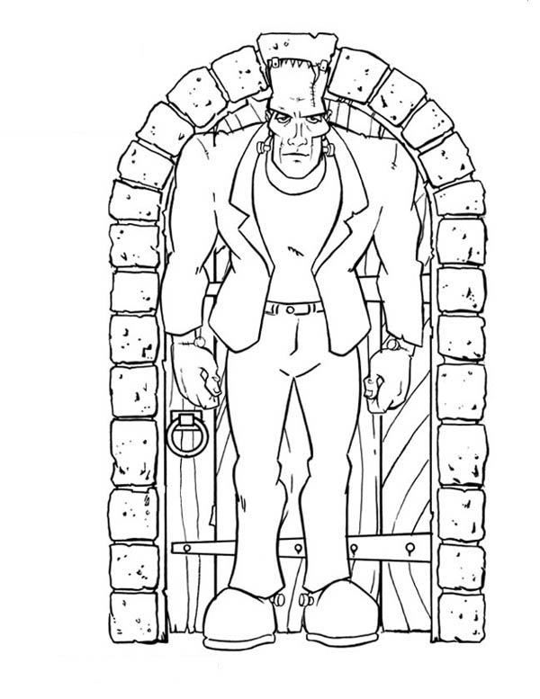 Frankenstein in Front of the Door Coloring Page Download Print