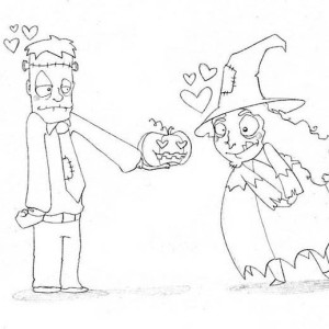 Frankenstein in Love with Cute Witch Coloring Page