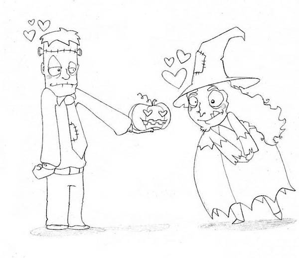 frankenstein in love with cute witch coloring page - Cute Witch Coloring Pages