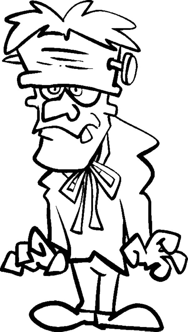 Frankenstein is going to party coloring page download for Frankenstein coloring book pages