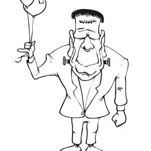 Frankenstein with Two Balloons Coloring Page