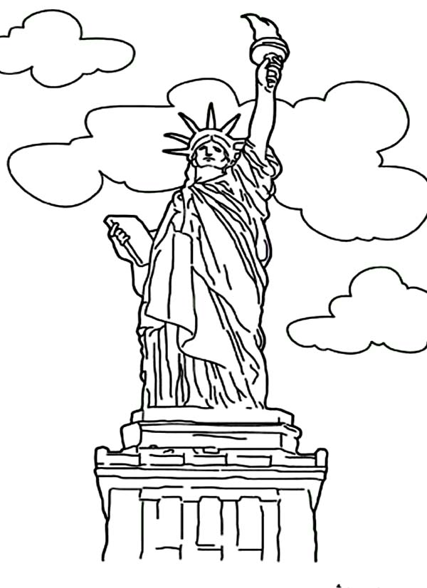 statue of liberty color page - full statue liberty coloring page coloring pages