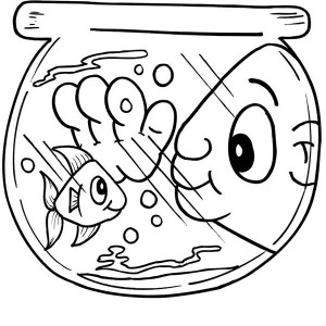 Funny Man Eye in Fish Bowl Coloring Page