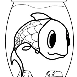 Giant Fish in a Small Fish Bowl Coloring Page