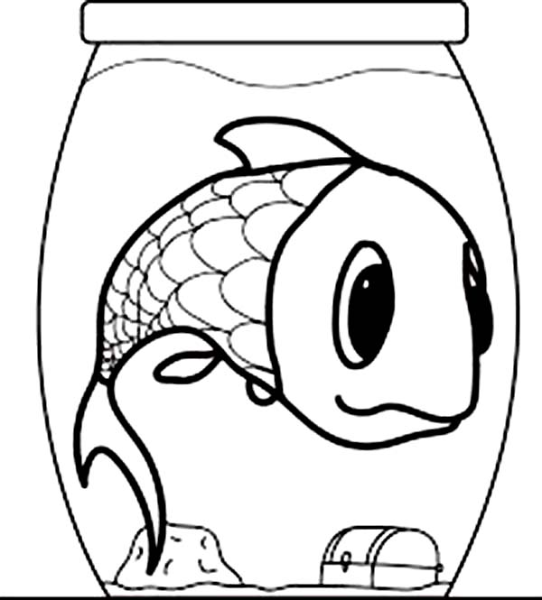 Giant Fish in a Small Fish Bowl Coloring Page Download Print
