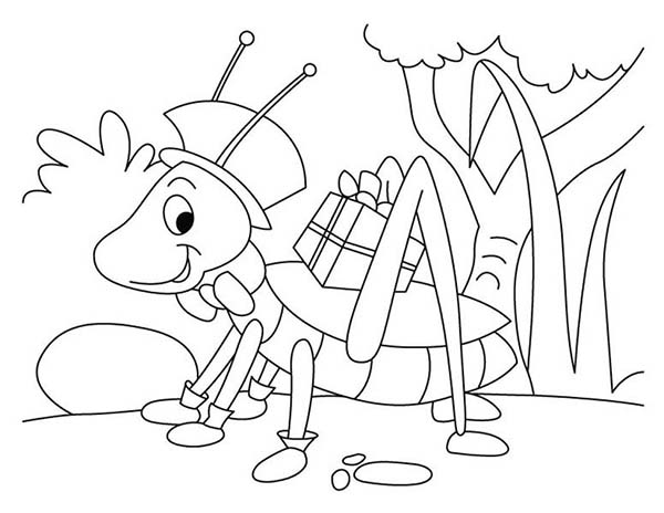 grasshopper with present coloring page - Present Coloring Page